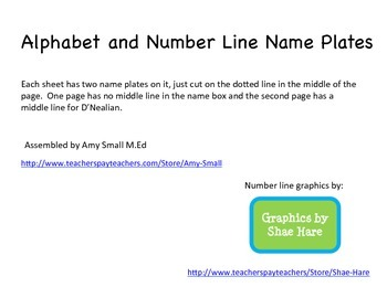Name plates with alphabet and number line