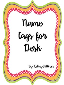Name tags for student Desk