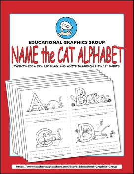 """Name the Alpha-Cats in Black/White - 4.25"""" x 5.5"""""""