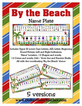 Nameplate Desk Topper - By the Beach - ASL, Number line, B
