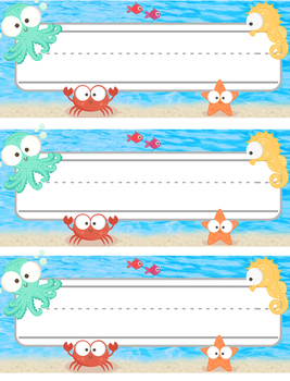 Nameplate - Underwater Sea animals Theme
