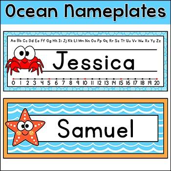 Name Plates - Ocean Theme Classroom Decor - Under the Sea Theme