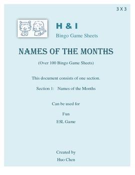 Names of the Months Bingo Game (H&I Bingo Game Sheets) - 3 X 3