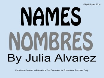 Names/Nombres by Julia Alvarez Activities (ELL)