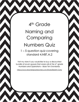 Naming and Comparing Numbers Quiz