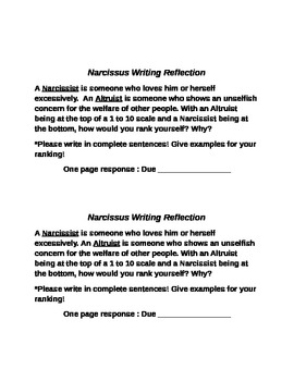Narcissus Writing Prompt