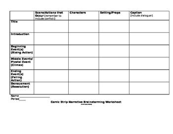 Narrative Comic Brainstorming Worksheet & Example