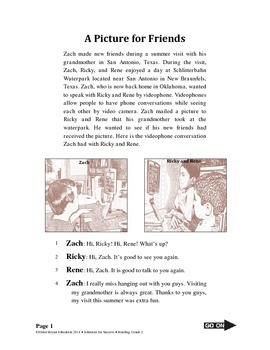 Narrative Reading Selection & Test Questions, A Picture fo