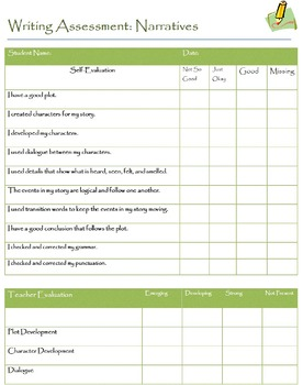 Narrative Writing  Assessment for Students and Teachers