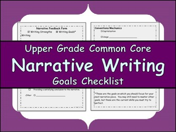 Narrative Writing Goals Checklist