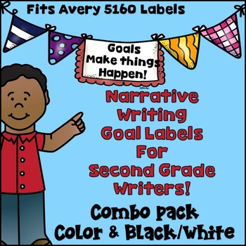Goal Setting Labels for Second Grade Writers!  COMBO! Narr