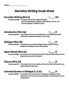 Narrative Writing Grading Sheet
