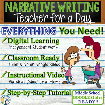 NARRATIVE WRITING PROMPT - Teacher for a Day - Middle School