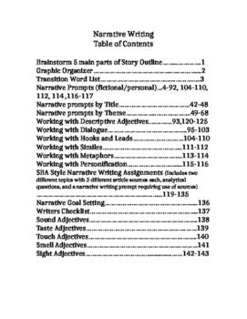 Narrative Writing Prompts, Descriptive Adjectives lists, D
