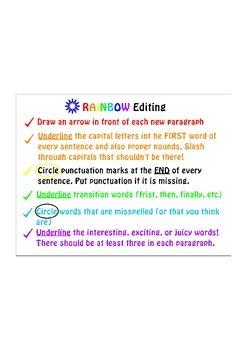 Narrative Writing- RAINBOW Edit Student Sheet