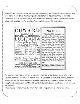 Narrative Writing - The Lusitania