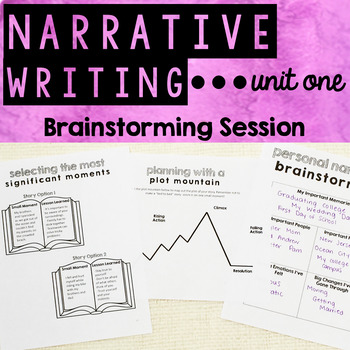 Personal Narrative Writing - Unit One - Brainstorming and