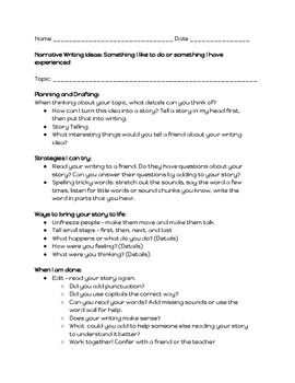 Narrative Writing and Student Self Checklist