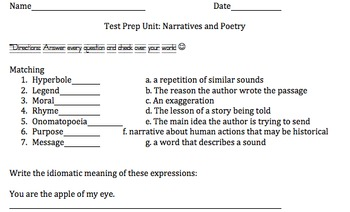 Narrative and Poetry Elements Quiz
