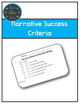 Narrative or Story Writing Success Criteria