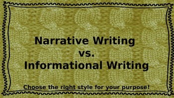 Narrative vs.Informative Writing Introductory PowerPoint