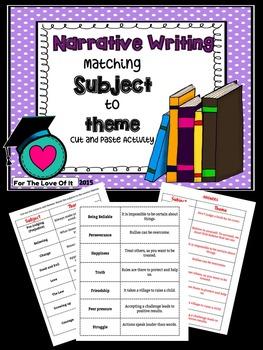 Narrative writing - Main idea (Subject) and Theme matching.
