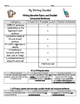 Narrative writing checklist and rubric