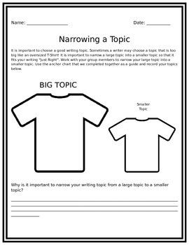 Narrowing Your Writing Topic Handout