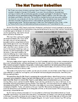 Nat Turner's Slave Rebellion Primary Source Worksheet