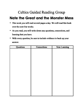 Nate the Great and the Monster Mess Guided Reading Packet