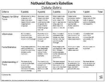 Nathaniel Bacon Rebellion Rubric