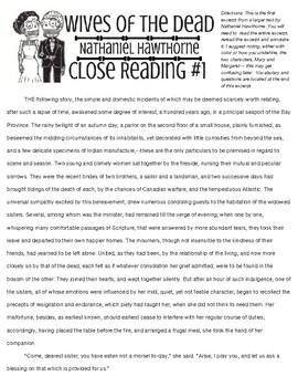 Nathaniel Hawthorne, Close Reading