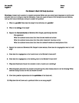 """Nathaniel Hawthorne's """"The Minister's Black Veil"""" Study Questions"""