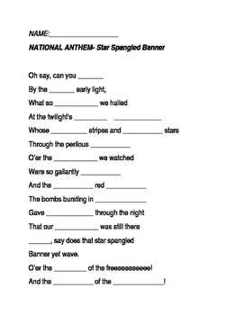 National Anthem Lyric Quiz