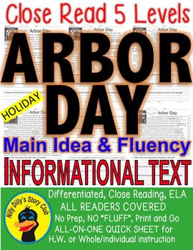 National Arbor Day FACTS Close Read 5 Level Passages ALL-R