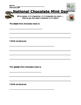 National Chocolate Mint Day - Opinion Writing