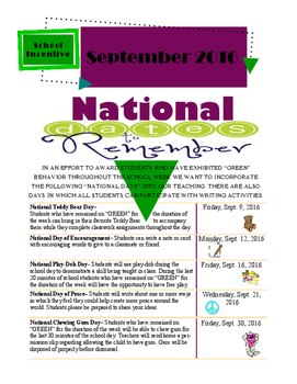 National Days for the Month of September