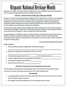 National Hispanic Heritage Month Sub Plan