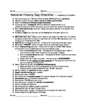 National History Day - General Checklist and All Category