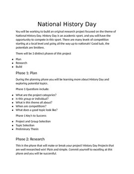 National History Day Introduction