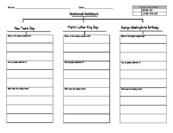 National Holidays Tree Map Research Guide