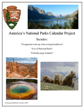 National Parks Calendar Assignment
