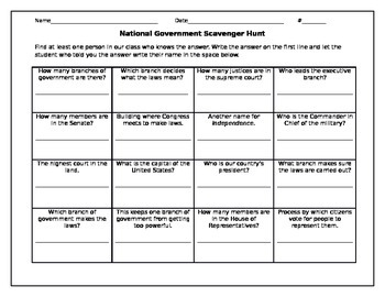 National, State, and Local Government Scavenger Hunt