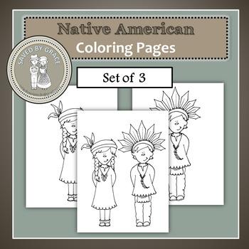 Native American Boy and Girl Printable Coloring Sheets - Set of 3