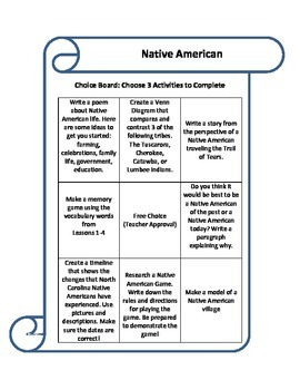 Native American Choice Board