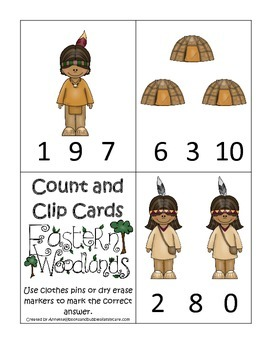 Native American Eastern Woodlands Indians themed Count and