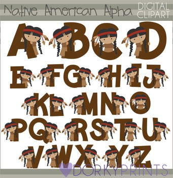Native American Girl Alphabet Thanksgiving Clip Art