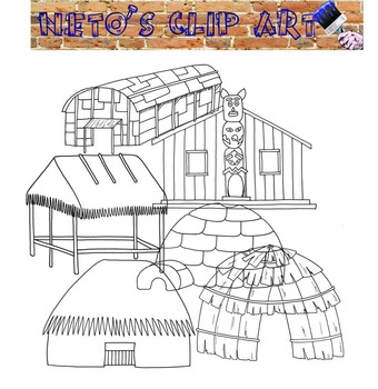 Native American Homes Blackline Clipart set