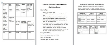 Native American Memory Matching Concentration Game and Answer Key