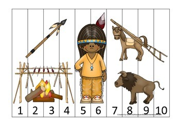 Native American Plains Indians themed Number Sequence Puzz